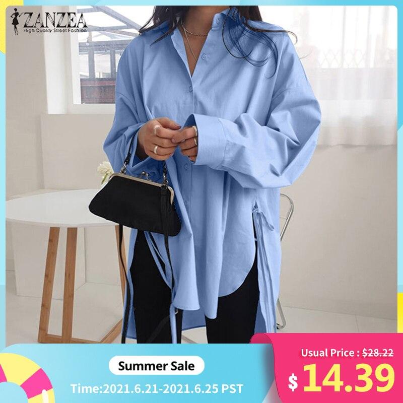 Stylish Solid Shirts Women's Asymmetrical Blouse 2021 ZANZEA Casual Lace Up Blusas Female Button Lapel Shirt Oversized Tunic 5XL