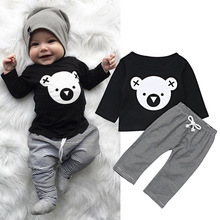 Baby Children Clothing Set Cartoon Koala T-Shirt Tops +Striped Pants Boy Clothes Newborn For Kids