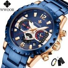 Армия WWOOR хронограф часы мужчины люксовый бренд спортивные водонепроницаемые кварцевые часы мужские наручные часы с календарем синий мужской часы
