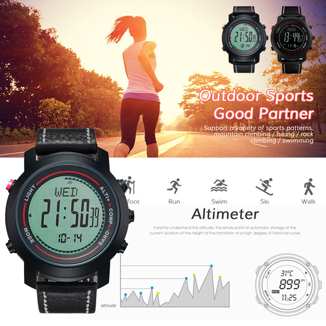 MG01 açık spor akıllı WatchWristwatches pusula altimetre barometre deri bant moda açık saatler saat Relogio