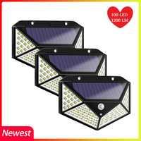 4PCS!! 100 LED Solar Light Outdoor Garden Decoration IP65 Waterproof 3 Modes PIR Motion Sensor Wall Lamp security light