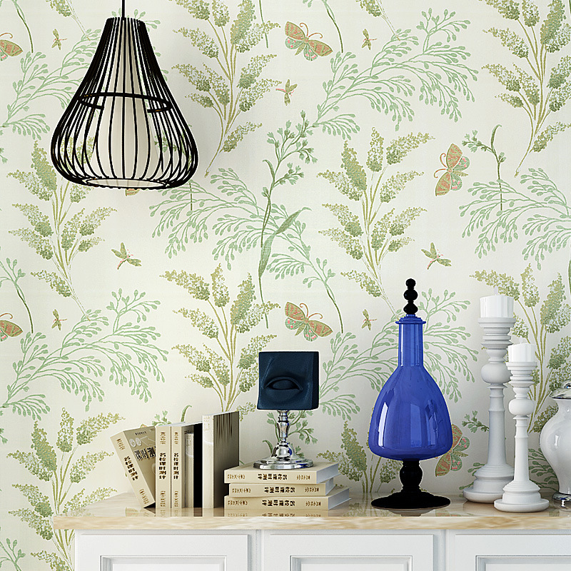 American-Style Village Non-Woven Pure Paper Wallpaper Living Room Bedroom TV Backdrop Wall Pastoral Style Flowers And Birds Vine