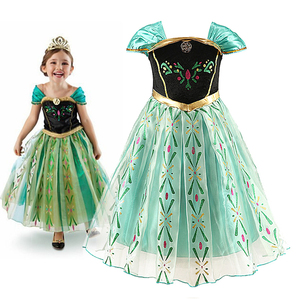 Anna Princess Dress for Baby Girls Green Dress Cosplay Kids Clothes Floral Anna Party Embroidery Shoulderless Queen Elsa Costume(China)