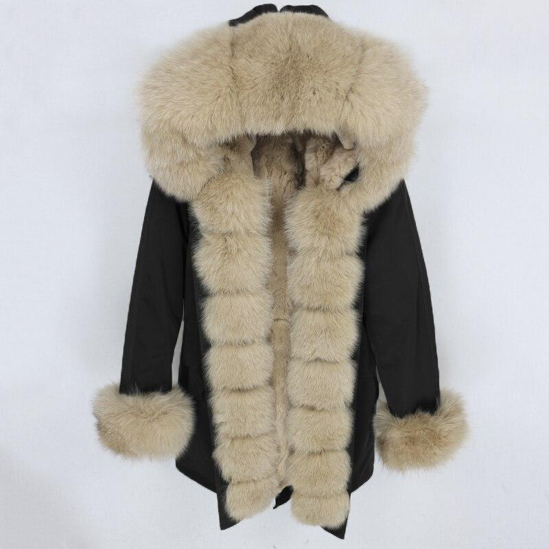 OFTBUY Водонепроницаемая парка 2019 натуральный мех пальто зимняя куртка женская натуральный мех енота воротник Настоящий мех кролика съемная подкладка
