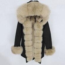 OFTBUY wodoodporna Parka 2020 płaszcz z prawdziwego futra kurtka zimowa kobiety naturalny kołnierz z futra szopa kaptur prawdziwe futro z królika odpinany
