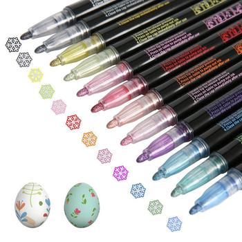 12 pcs Metallic Marker Outline Pen Glitter Colorful DIY Album Scrapbooking Marker Pen For Drawing Painting Gift For Kids Adult