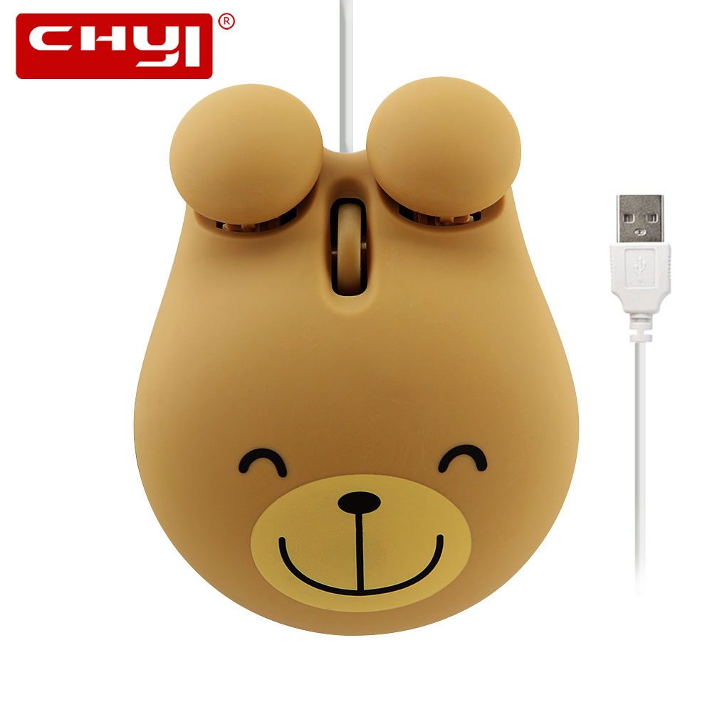 CHYI Mini Wired Mouse Cute Cartoon Frog Tiger Broen Bear Design Computer 3D Kids Mouse 1600 DPI USB Optical Small Hand Muase