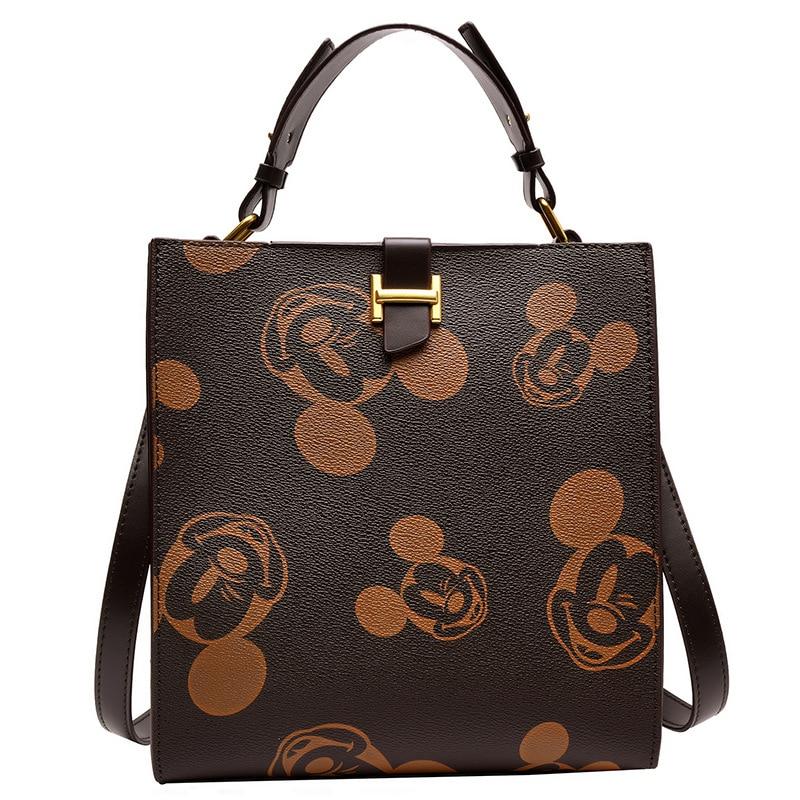 Disney Mickey Mouse Women's Bag Cute Minnie Messenger Bag Shoulder Messenger Bag Fashion Check Ladies Chain Bag Cartoon Handbag