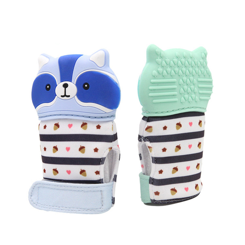 Animal Raccoon Cartoon Teething Gloves Finger Baby Baby Teether Mittens Silicone Toy Baby Newborn Dental Care Sucking Sound Kids Toys