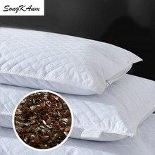 Songkaum lavável 100% trigo mourisco travesseiro ortopédico pescoço travesseiros crianças adulto dormir travesseiro algodão capa de saúde