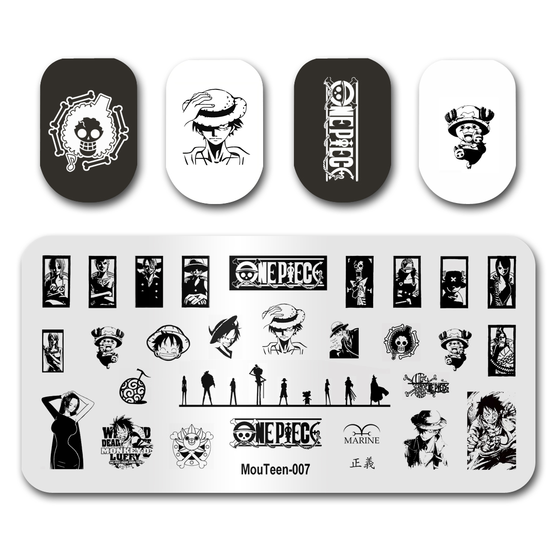 Newest Nail Art Stamping MouTeen007 Cartoon One Piece Monkey D Luffy Nail Stamping Plates Manicure Stencil Set For Nail Stamping