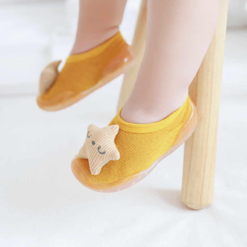 Primeiros passos calçados de bebê, meninas, bebê, coelho, sola macia, sapatos de borracha, chinelo, botas de meia para crianças