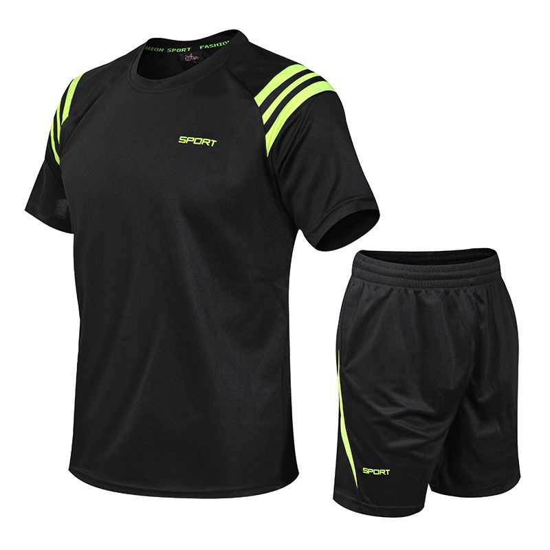 Summer MEN'S Sport Suit Large Size Sports Clothing Summer Short Sleeve T-shirt Suit Basketball Wear Casual Wear
