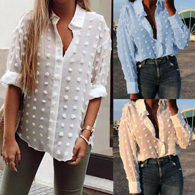 NEW Sell Well Womens White/<font><b>Blue</b></font> Oversized Long Sleeve V Neck <font><b>Shirt</b></font> Top Blouse S/M/L/XL Cost-effective image