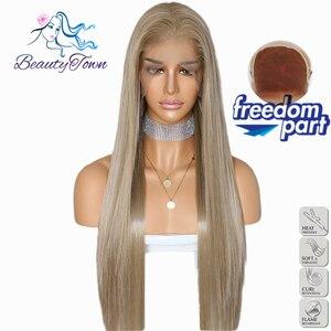 Image 2 - BeautyTown שנהב בלונד 13x6 משלוח חלק Futura ללא סבך עמיד בחום שיער יומי חתונה שכבה סינטטי תחרה מול פאה