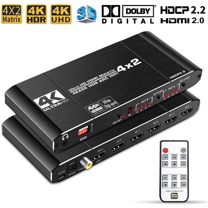 4x2 hdmi 2.0 interruptor de matriz divisor 4k @ 60hz 4:4:4 switcher 4 em 2 para fora com controle remoto ir apoio arco hdcp 2.2