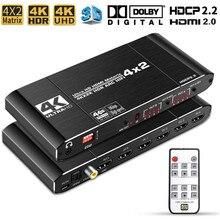 4x2 HDMI 2,0 Matrix Switch Splitter 4K @ 60Hz 4:4:4 Switcher 4 in 2 Out mit IR Fernbedienung Unterstützung ARC HDCP 2,2
