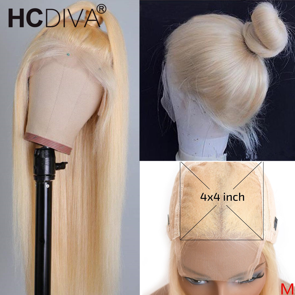 Brazilian Lace Wig 4*4 Straight Lace Closure Wig 150% Remy Human Hair Wigs 613 Blonde Lace Front Wig Pre-plucked With Baby Hair