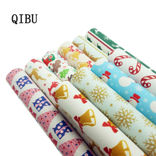 QIBU Christmas Bow Fabric Faux Leather Sheets Printed PU Vinyl DIY Hairbow Bags Materials Synthetic 1pcs