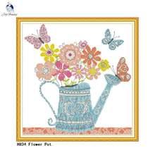 Joy sunday цветочный горшок вышивка крестом 11ct печатная ткань