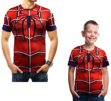 Family Matching T-shirt Daddy and Me Clothing Men's T-shirt 2019 Summer MARVEL Spider-man Casual T-shirt Fashion Tees for Boys(China)