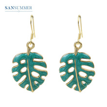 Sansummer 2019 New Fashion Green Leaf Simple Enamel Pendant Charm Casual Vintage Style Personality Earrings For Women Jewelry