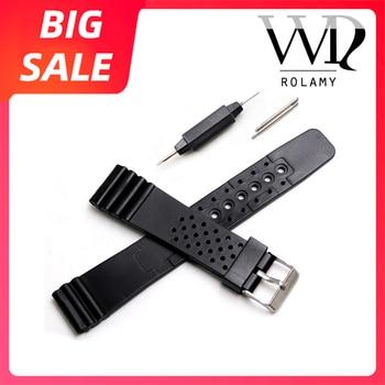 Rolamy 20 мм Высокое качество черный ремешок для часов из силиконовой резины с прямым концом для Casio Omega Panerai Черный Сменный ремешок для часов