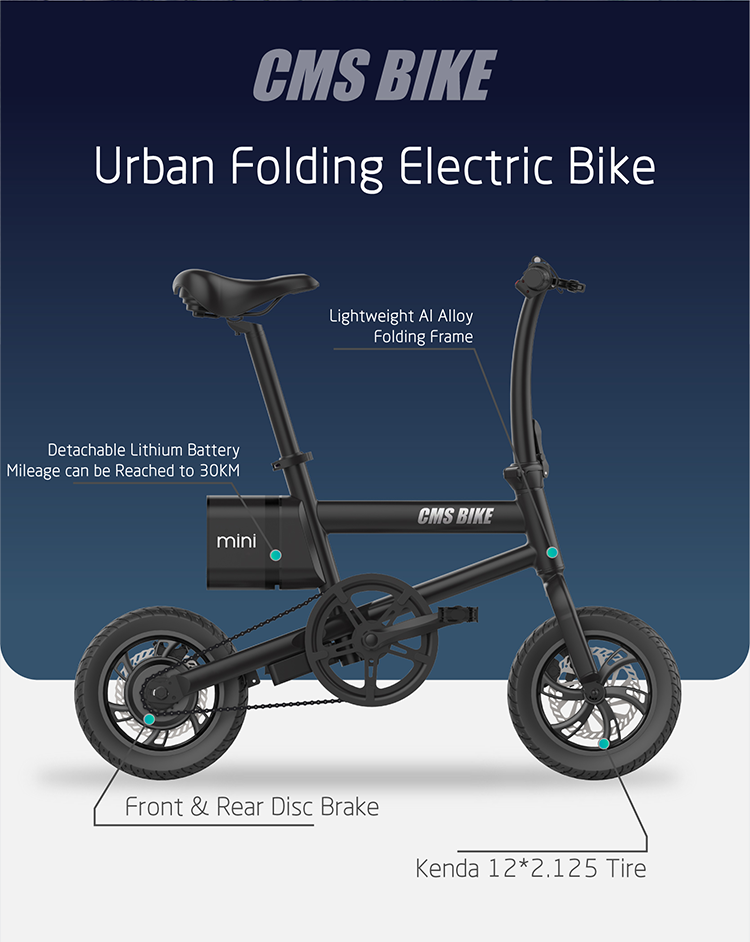 12 inch folding electric bicycle with LED displayer urban ebike 5