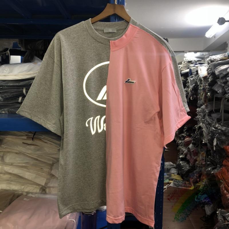 Oversized 3M Reflective Splice WELLDONE T-shirt Men Women High Quality Streetwear We11 Done WELL DONE T shirt Top Tees