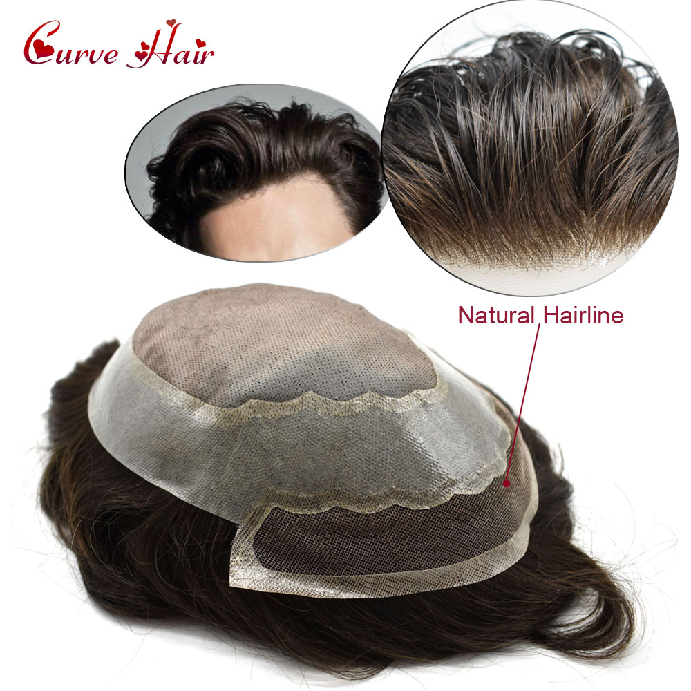 100% Human Hair Toupee For Men Light Density Mono Hairpiece Bleached Lace Front All Hand Tied Hair System PU Around Hairpieces