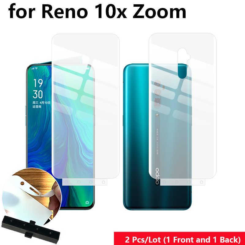 "2 Pcs/Lot Front & Back Auto Fixed Scratch Proof Anti Finger Hydrogel Screen Protector for OPPO Reno 10x zoom 6.6"" Full Film"