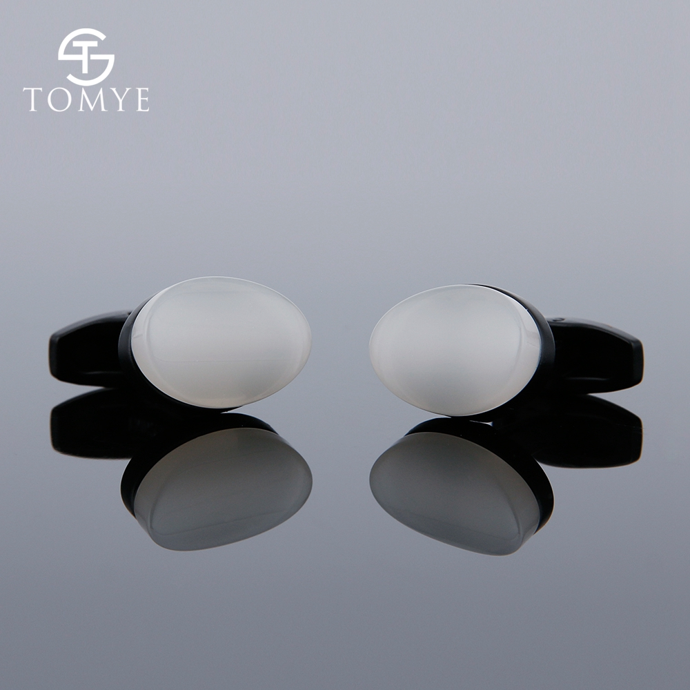 TOMYE Matte Black White Oval Bulk Unique High Quality Cufflinks Custom Logo For Shirt XK19S125