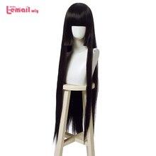 L e mail perücke Kakegurui Yumeko Jabami Cosplay Perücken Lange Schwarze Gerade Cosplay Perücke Halloween Wärme Beständig Synthetische Haar