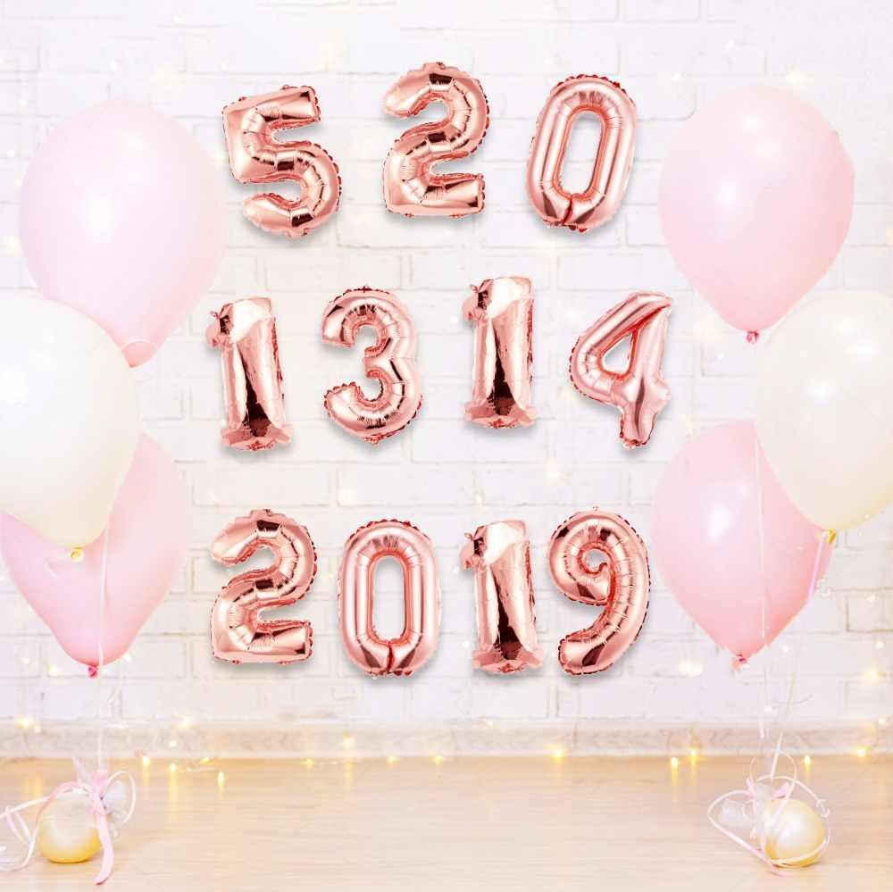 Ballons16 pulgadas oro plata Número de globos de papel de aluminio Digit Air Ballon cumpleaños fiesta boda decoraciones cumpleaños globo @ 05