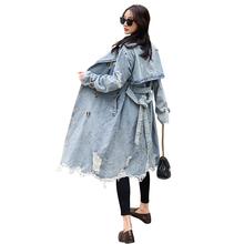 Europejskie modne damskie długi dżinsowy płaszcze dżinsowe Retro Vintage kobiece stylowe damskie trencze T139 tanie tanio TOPINEUP CN (pochodzenie) Wiosna jesień Pełna WOMEN Denim Na co dzień COTTON Wykop Przycisk Regulowany pas Stałe REGULAR