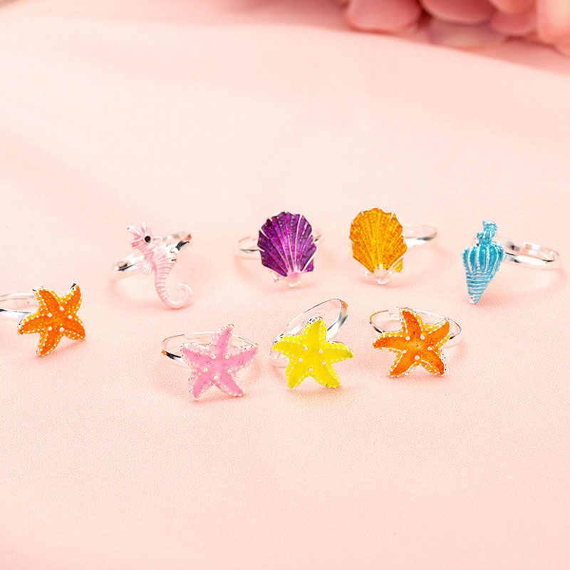 6PCS เด็กอินเทรนด์เด็ก Seahorse ปลาดาว conch สำหรับสาวหวานน่ารักปรับการ์ตูนสัตว์คริสตัลแหวนเคลือบ