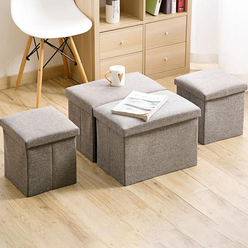 Linen Fabric Storage Stool Foldable Household Coffee Table Sofa