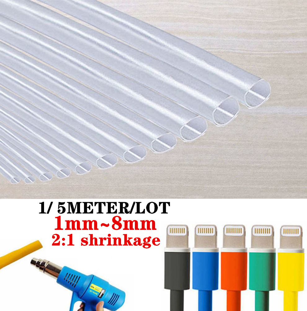 1/ 5METER/LOT 2:1 Transparent  Heat Shrink Tube 1mm~8mm Polyolefin Wire Cable Electronic Component  Insulated Sleeving