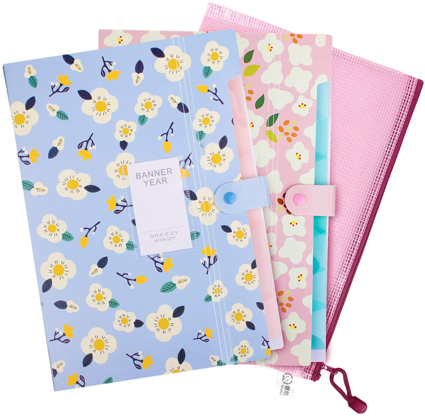 A4 Expanding File Folder,Floral Printed Accordion Document File Folder Document Organizer