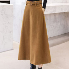 Winter Women's Wool Maxi Skirts With Belt 2019 Fashion Vintage Woolen Skirt Female Streetwear Casual Saia Longa Wine Red(China)