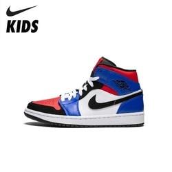 Nike Air Jordan 1 Original recién llegado niños zapatos transpirables niños baloncesto zapatos al aire libre zapatillas deportivas #554724-124