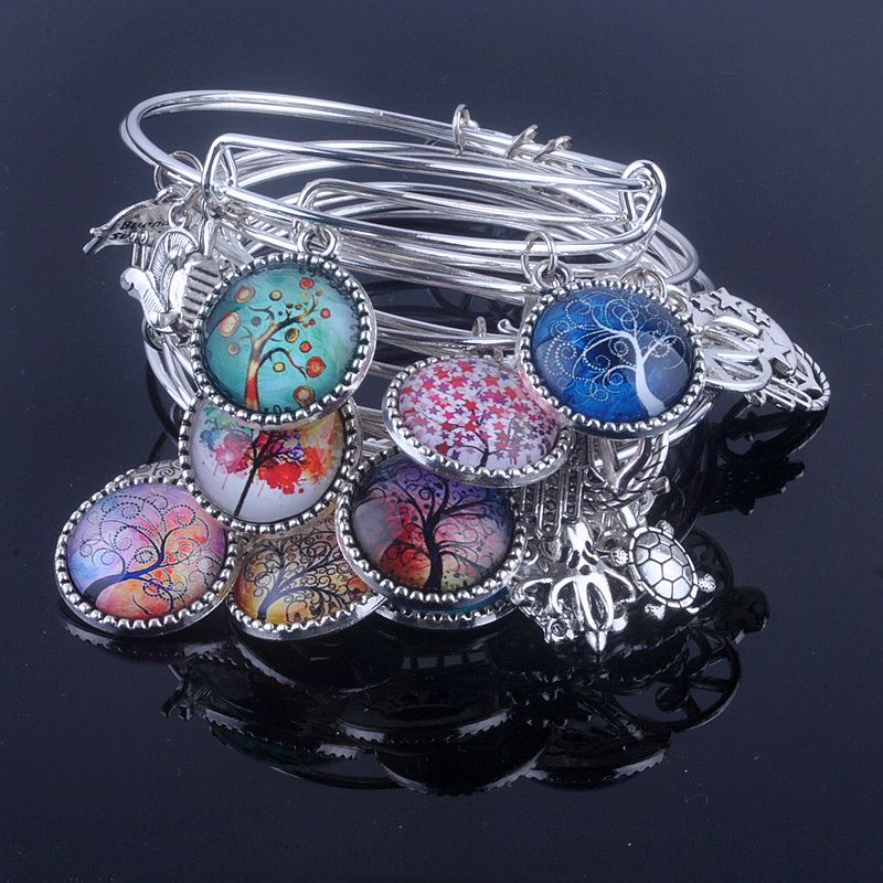 18 Styles Cabochon Dome Tree of Life charms Bracelet Adjustable Expandable Wire Bangles for Women Fine Jewelry B013(China)