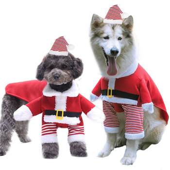 Christmas Pet Dog Cat Costumes Funny Christmas Santa Claus Costume Cute Comfortable Soft Dog Clothes for Medium Large Dogs Cats image