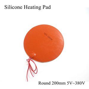 Круглый 200 мм 5 в 12 В 24 в 36 в 48 в 110 В 220 В 380 В силиконовый нагревательный коврик резиновый тепловой коврик Подогреваемая кровать пластина Гибка...