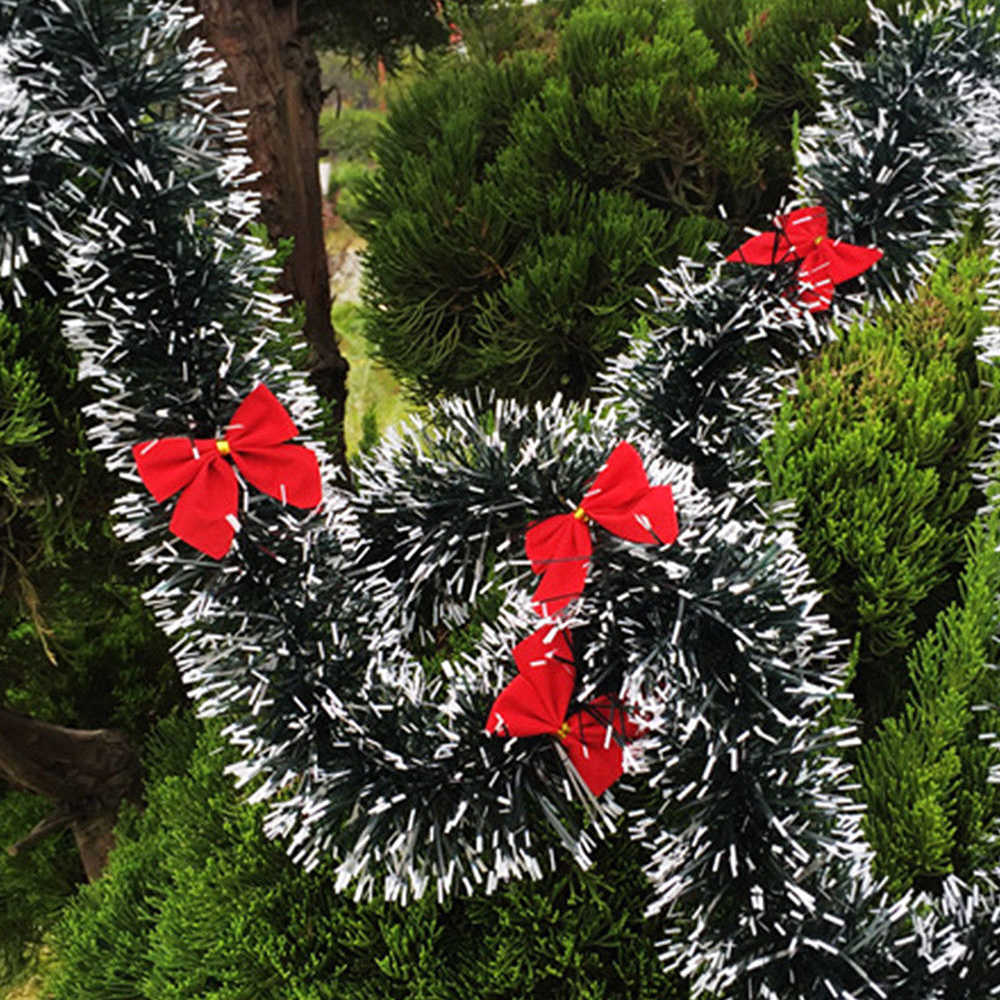 2M guirlande de noël maison fête mur porte décor arbre de noël ornements Tinsel bandes avec nœud papillon fête fournitures dropshipping