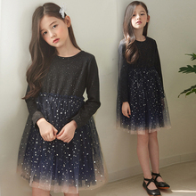 Romantic Sequins Star Mesh Dress for Teenager Girls Fashion Children Clothes Kids Girls Ball Gown Dresses for Party Hot Sales