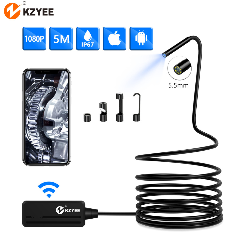 KZYEE HD1080p Wireless Endoscope Camara With 6 LEDs WiFi 2.0 Megapixels Borescope Inspection Camara For Android Phone And IPhone