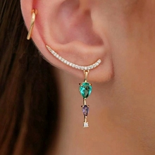 Gold Color copper Stud Earings Tiny white Cubic zirconia Green Colorful Crystal Glass Water Drop Pendant CZ Fashion Jewelry 2019