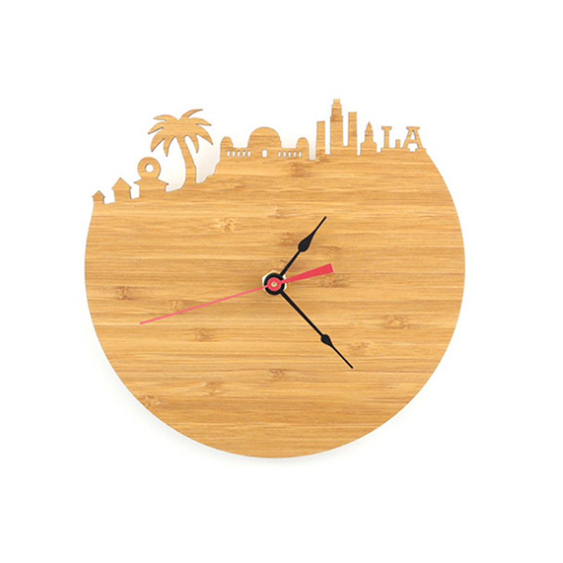 Los Angeles Bamboo Wall Clock - Decorate Your Home With Modern Art Skyline Design - Best Gift Natural City Wall Clock