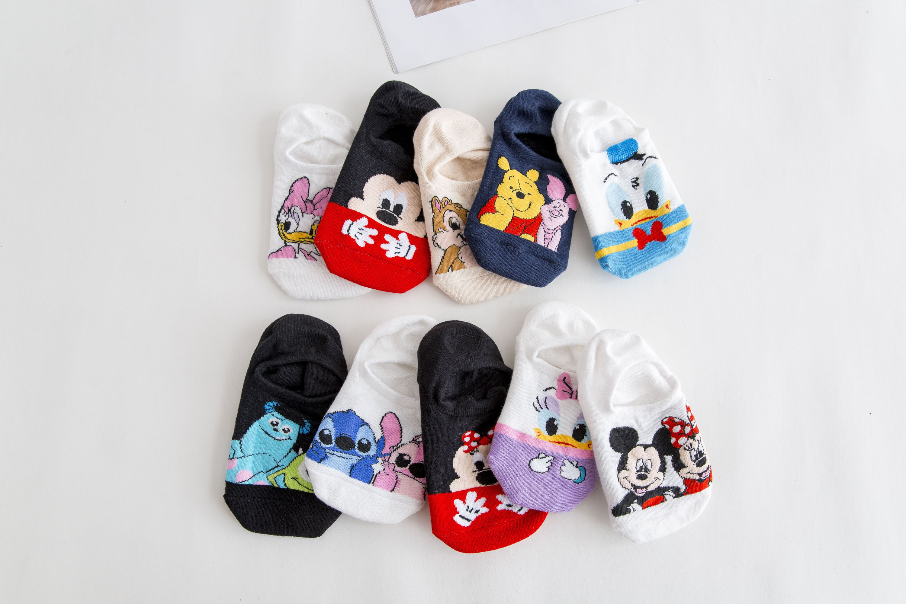 Haae1d2b8b994478799f8903fe0ddc265n - Disney 5 Pairs/Lot Casual Cute women Scoks Cartoon animal Mickey Mouse Donald Duck invisible ankle Socks Cotton happy Funny sock